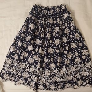 DownEast Navy Floral Skirt